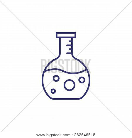 Beaker Line Icon. Science, Biology, Investigation. Science Concept. Vector Illustration For Topics L
