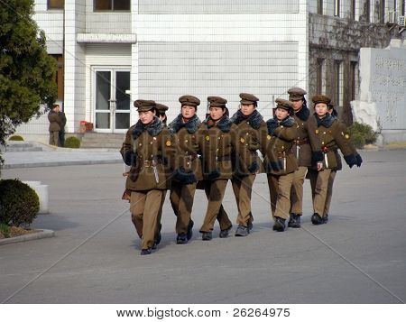 PYONGYANG - MARCH 23: North Korean war woman squad in preparation for military parade on March 23, 2010 in Pyongyang, North Korea