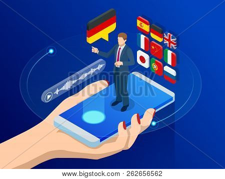 Isometric Online Voice Translator And Learning Languages Concept. E-learning, Translate Languages Or