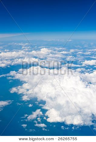 natural background view of the sky taken from airplane