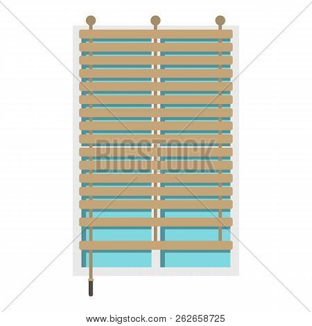 Window With Wooden Jalousie Icon Flat Isolated On White Background Illustration