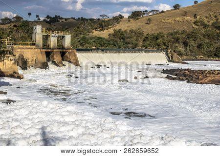 Itu, Sao Paulo, Brazil, July 26, 2018. View San Pedro Hydroelectric Plant, Built On The Tiete River