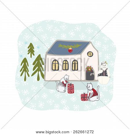 Winter Holidays Snow Scene Cottage Clipart, Hand Drawn Illustration