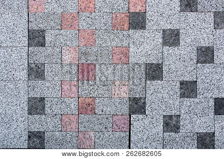 Sidewalk Stone, Texture Of A Decorative Stone For Paving Of Sidewalks And Roads.light Gray With Inse