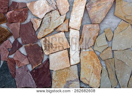 Sidewalk Stone, Texture Of A Decorative Stone For Paving Of Sidewalks And Roads.