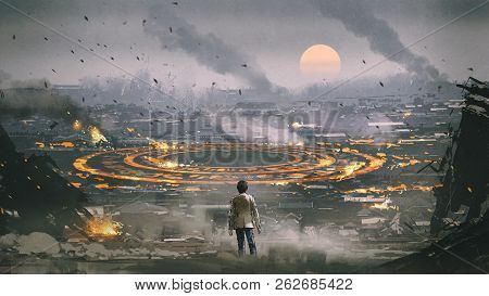 Post Apocalypse Scene Showing The Man Standing In Ruined City And Looking At Mysterious Circle On Th