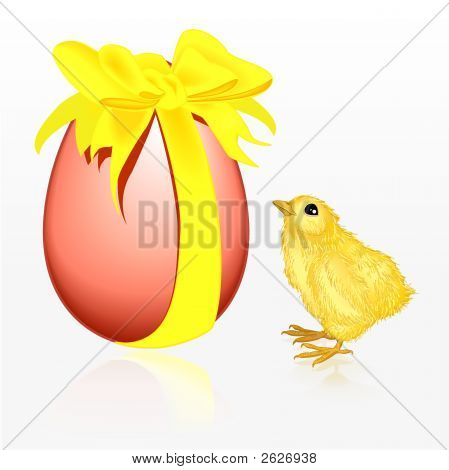 Illustrated small chicken standing besides an easter egg. Image contains clipping path for easier cropping of egg and bird. poster