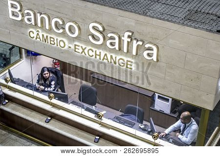 Guarulhos Sao Paulo, Brazil, August 01, 2018. Currency Exchange Store At Cumbica Airport Terminal In