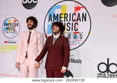 LOS ANGELES - OCT 9:  Benny Blanco, Lil Dicky at the 2018 American Music Awards at the Microsoft Theater on October 9, 2018 in Los Angeles, CA