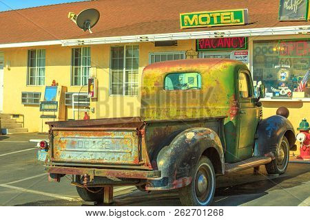 Barstow, California, Usa - August 15, 2018: Vintage Dodge Truck At The Front Of The Historic Route 6