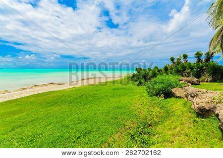 Varadero, Cuba, Gorgeous, Beautiful Inviting View From Tropical Garden On Cuban Varadero Beach, Tran