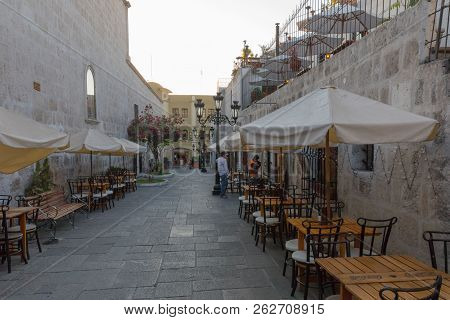 Arequipa Peru August 26th 2018 In This Pedestrian Alley Behind The Cathedral Of Arequipa There Are M