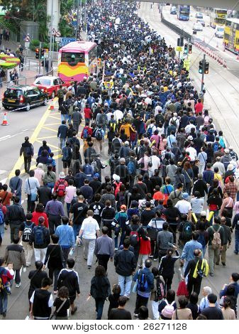 a demonstration with crowd of people in Hong Kong