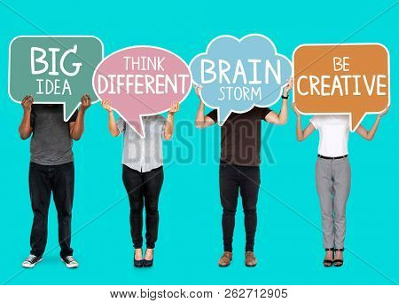 Diverse people with creative inspiration speech bubbles