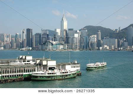 Victoria Harbor in Hong Kong. Taken from Kowloon looking across at the Hong Kong Convention and Exhibition Center