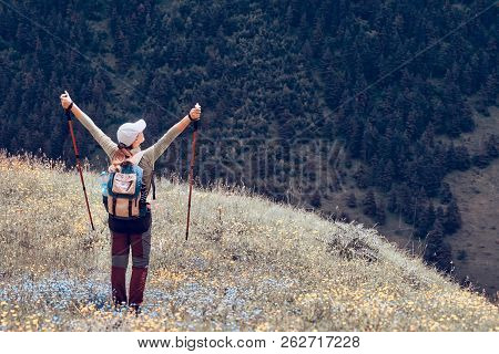 Hiker Woman Healthy Outdoor Lifestyle Relax And Looking Green Forest On Mountain  Traveling Along Th