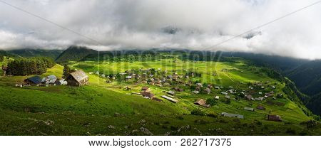Panoramic View To Omalo Mountain Village In Tusheti Nature Reserve. Georgia