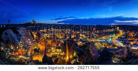 Panoramic View Of The Ancient City Of Goreme At Sunset In Cappadocia, Central Anatolia, Turkey