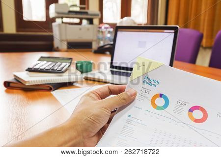 Business And Finance Concept Of Office Working, Businessman Discussing Sale Analysis Chart