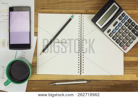Business Concept Of Office Working, Blank Notebook With Business Background, Vintage Effect