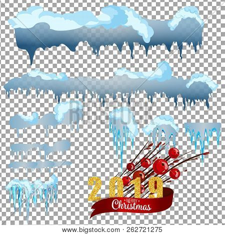 2019 Snow With Icicles And Snow Drifts. Winter Snow Caps With Ice. Set Of Different Blue And White S