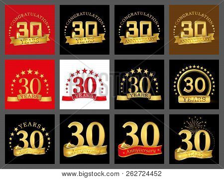 Set Of Number Thirty Year (30 Year) Celebration Design. Anniversary Golden Number Template Elements