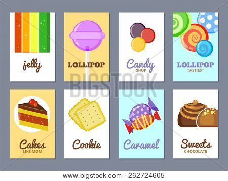 Sweets Advertising Cards. Jelly Lollipop Cakes And Other Sweets Vector Poster Or Labels For Candy Sh