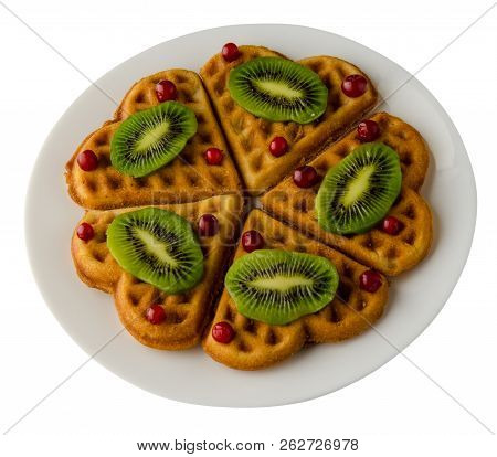 Wafers With Kiwi And Cranberries On A Plate. Wafers With Kiwi And Cranberries Isolated On White Back