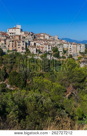 Town Tourrettes-sur-Loup in Provence France  travel and architecture background