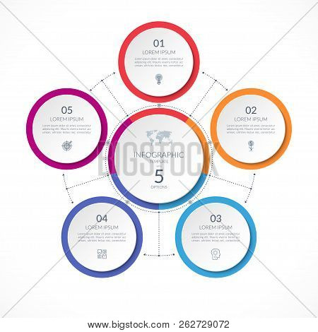 Infographic Circle With 5 Options. Can Be Used For Graph, Diagram, Chart, Presentation, Report, Web