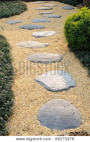 Stone and sand walkway in garden