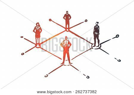 Communication, People, Business, Group, Talk Concept. Hand Drawn People Communicate With Each Other