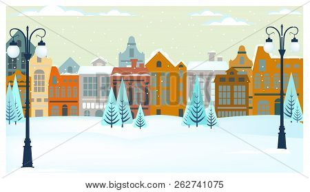 Winter Landscape With Cottages, Trees And Streetlights Vector Illustration. Snowy City Scene. Christ