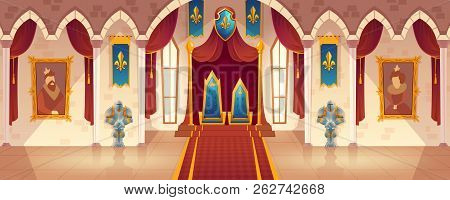 Vector Castle Hall With Two Thrones For King And Queen. Interior Of Ballroom With Guards In Knight A