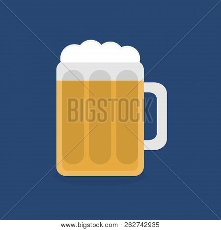 Beer In Glass Vector Graphic Flat Icon, Isolated. Alcoholic Beverage, Beer With Beer Head, Foam, In