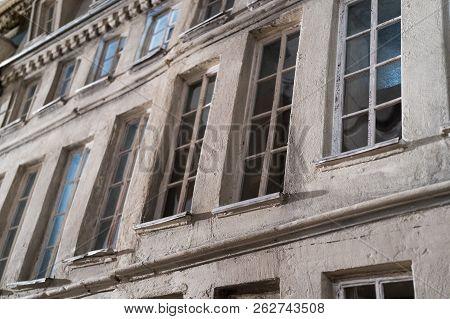 Closeup On A Tenant House Facade Model With Windows.