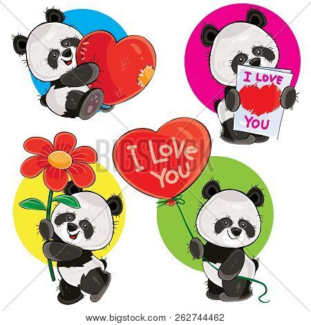 Valentine Day Cartoon Set With Cute Panda Bears, With Soft Heart, With Love You Greeting Card, With