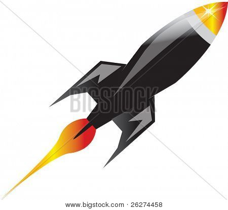 Glossy space rocket