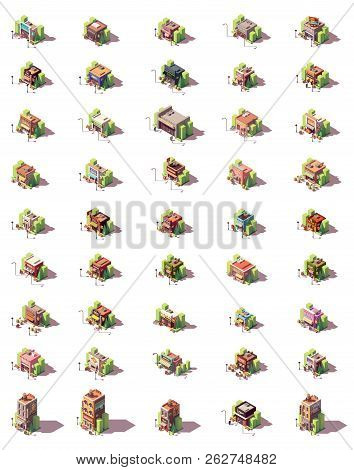 Vector Isometric Shop, Restaurants And Shops Icon Set. Includes Food, Clothes, Electronics, Tools, B