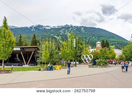 Whistler,canada - July 4,2018 - In The Streets Of Whistler In British Columbia. Whistler Is A Resort