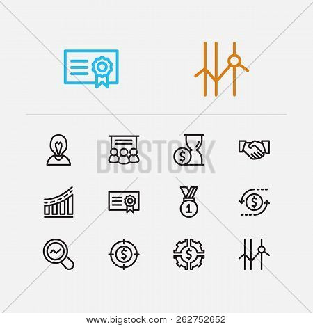 Capital Icons Set. Investment Target And Capital Icons With Staff Training, Bond And Return On Inves