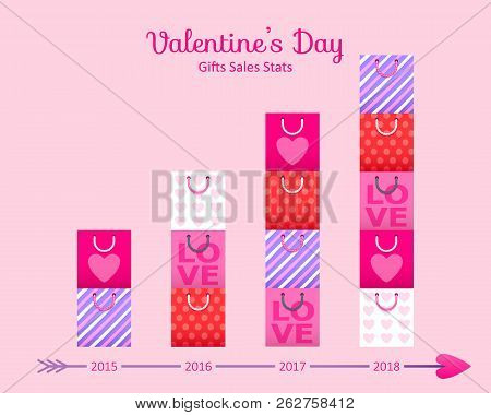 Valentines Day Sale Statistics Concept - Colorful Gift Bags Chart. Business Illustration.