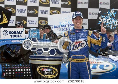 HAMPTON, GA - MAR 7: Kurt Busch in The Miller Lite Penske Dodge wins the running of the Kobalt Tools 500 at Atlanta Motor Speedway on Mar 7, 2010 in Hampton, GA.