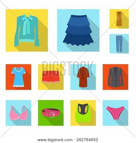 Isolated Object Of Woman And Clothing Logo. Collection Of Woman And Wear Vector Icon For Stock.