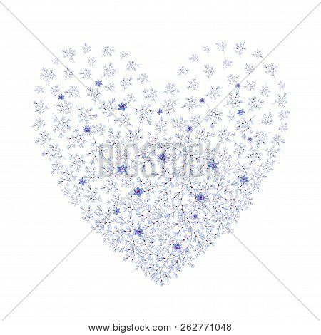 Natural Blue Heart Shaped With Flowers. Cliparts For Wedding Design, Artistic Creation.
