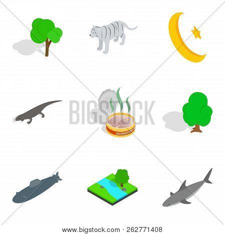 Animal Place Icons Set. Isometric Set Of 9 Animal Place Icons For Web Isolated On White Background
