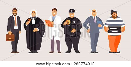 Collection Of Legal Characters. Lawyer, Forensic Scientist, Judge, Prosecutor, Police Officer Crimin