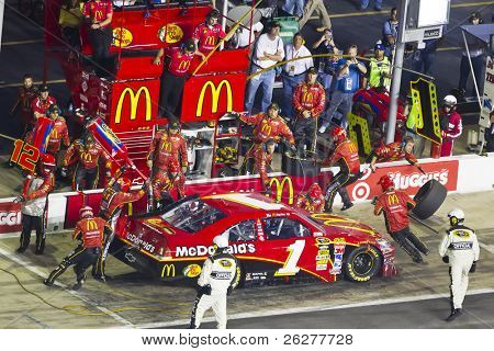 HAMPTON, GA - SEP 05:  Jamie McMurray brings his McDonalds Chevrolet in for service during the Emory Healthcare 500 race at the Atlanta Motor Speedway in Hampton, GA on Sep 05, 2010.