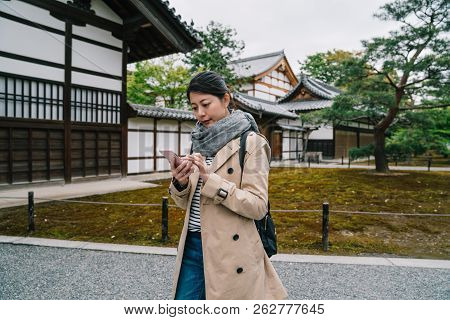 Travel Tourist Visiting The Temple In Kyoto