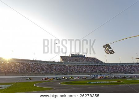 SPARTA, KY - JULY 09:  The NASCAR Sprint Cup Series teams take to the track for the Quaker State 400 race at the Kentucky Speedway in Sparta, KY on July 09, 2011.